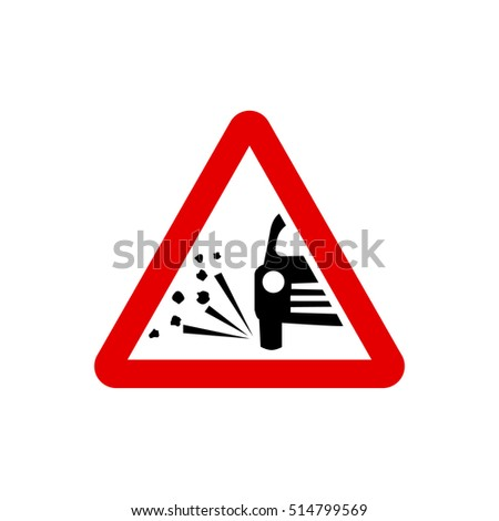 UK loose chippings warning sign.