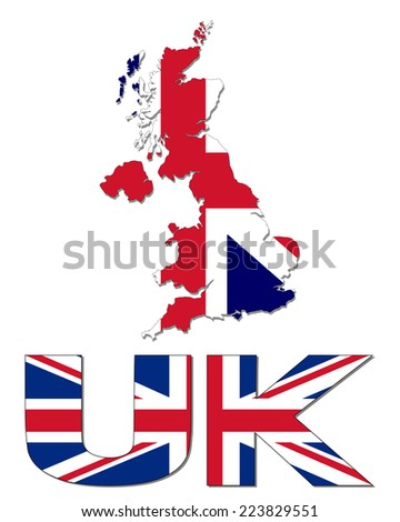 UK map flag and text vector illustration - stock vector