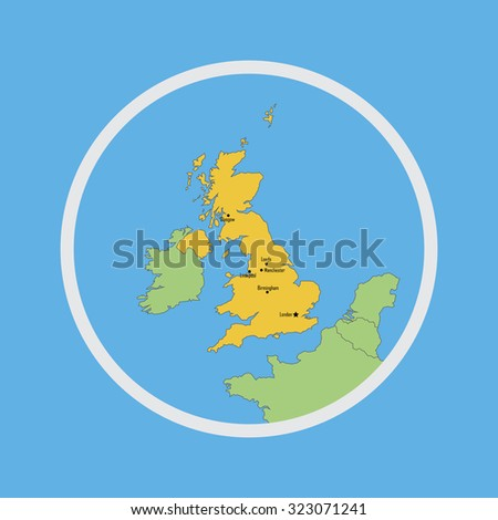 UK map in circle illustration vector - stock vector
