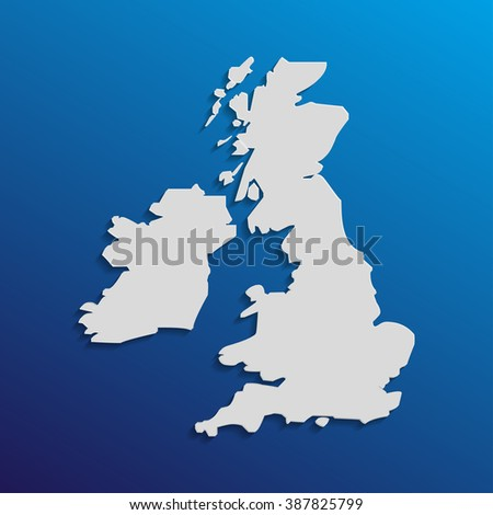 UK  map in gray with shadows and gradients on a blue background - stock vector
