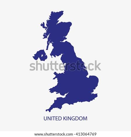 UK MAP,UNITED KINGDOM MAP silhouette illustration vector - stock vector