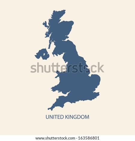 UK MAP VECTOR, UNITED KINGDOM MAP, BRITAIN MAP - stock vector
