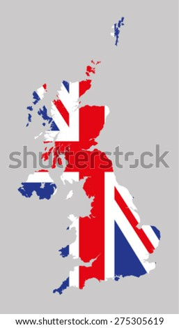 UK Map With Flag - stock vector