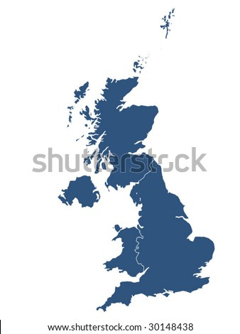 UK map with white background - stock vector