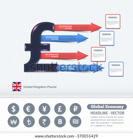UK Pound Symbol, Business Infographics Design, Colorful Arrows and Vector Elements