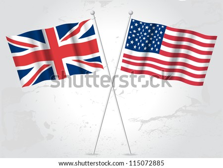 UK United kingdom and USA American flags. - stock vector