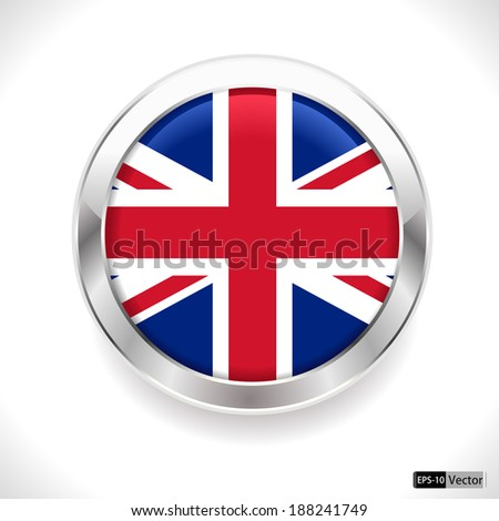 UK Vector flag button, united kingdom flag badge - vector eps10 - stock vector