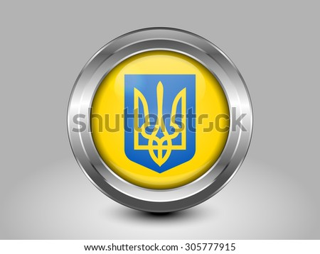 Ukraine Coat of Arms. Metal Round Icons. This is File from the Collection European Flags - stock vector