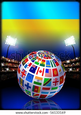 Ukraine Flag Globe on Stadium Background Original Illustration