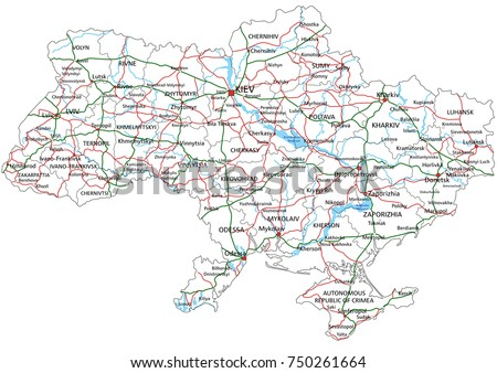 Ukraine Road Highway Map Vector Illustration Stock Vector 750261664