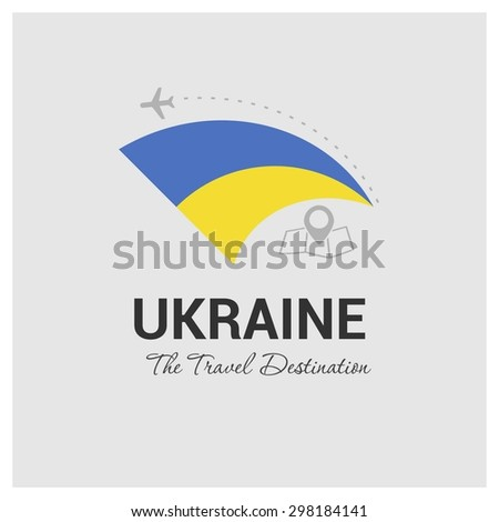 Ukraine The Travel Destination logo - Vector travel company logo design - Country Flag Travel and Tourism concept t shirt graphics - vector illustration - stock vector
