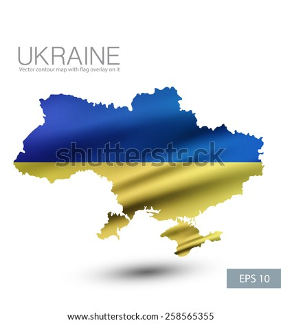 Ukraine vector contour map with Ukraine waving flag overlay on it. - stock vector