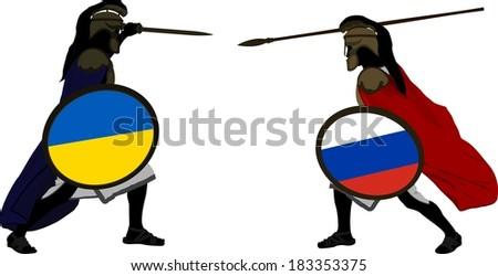 ukrainian and russian warriors. vector illustration - stock vector