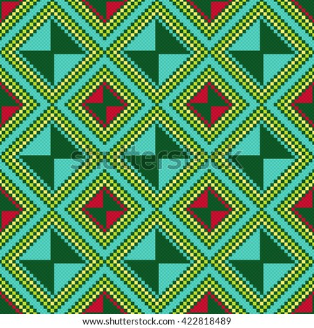 Ukrainian Ethnic geometric multicolour broidery, seamless vector pattern - stock vector
