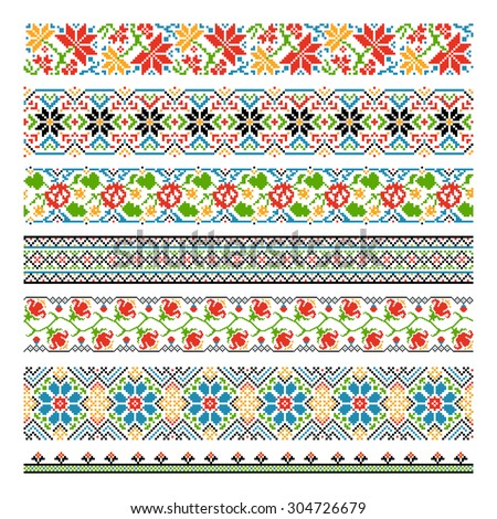 Ukrainian ethnic national border seamless patterns for embroidery stitch. Graphic cross-stitch style, tradition flower decoration pixel. Vector illustration - stock vector