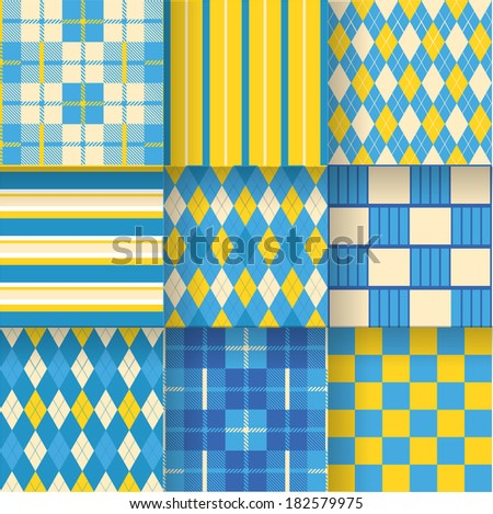 Ukrainian golf backgrounds. Seamless pattern background with yellow and blue colors. Vector illustration EPS-10. Pattern Swatches made with Global Colors - quick, simple editing of color - stock vector