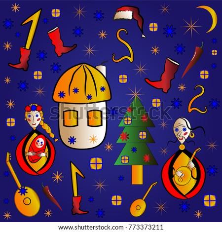 Ukrainian new year christmas greeting card stock vector hd royalty ukrainian new year christmas greeting card design for kids m4hsunfo