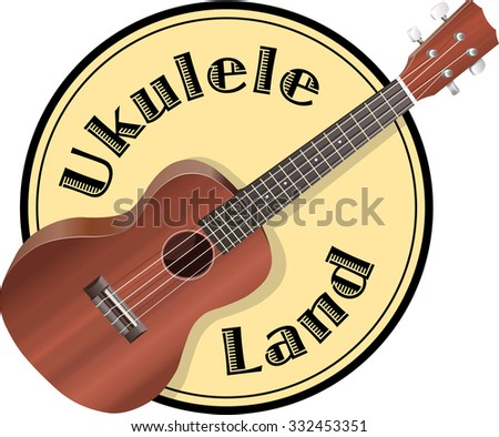 Ukulele on background, similar to a logo and sign. - stock vector