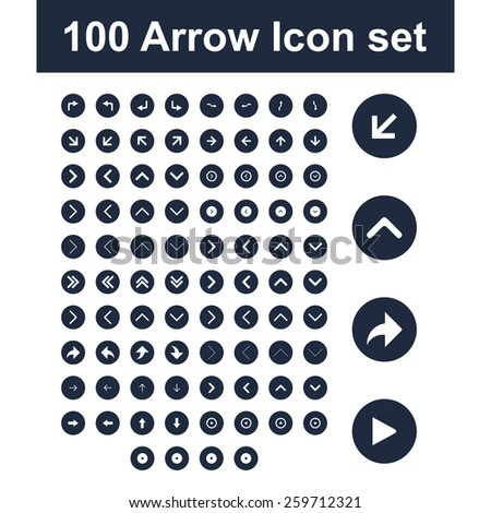 ultimate 100 dark blue arrow icon set. simple pictogram minimal, flat, solid, mono, monochrome, plain, contemporary style. Vector illustration web internet design elements - stock vector