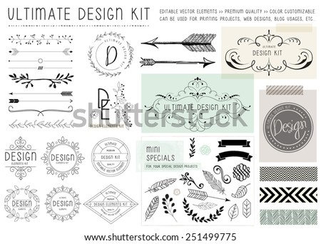 ULTIMATE DESIGN ELEMENTS KIT. For your graphic projects, print and internet. Frames, dividers, decorative elements such as logo. - stock vector