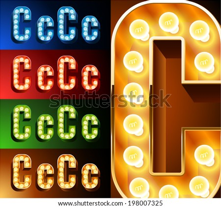 Ultimate realistic lamp board alphabet. Condensed style. Left and right options. Multicolored. Letter c - stock vector