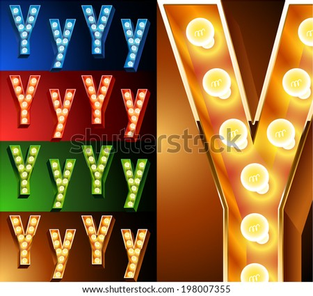 Ultimate realistic lamp board alphabet. Condensed style. Left and right options. Multicolored. Letter y - stock vector