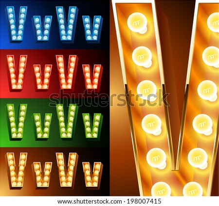 Ultimate realistic lamp board alphabet. Condensed style. Left and right options. Multicolored. Letter v - stock vector