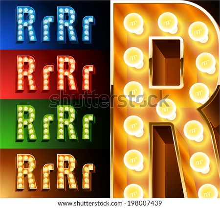 Ultimate realistic lamp board alphabet. Condensed style. Left and right options. Multicolored. Letter r - stock vector