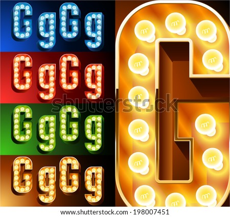 Ultimate realistic lamp board alphabet. Condensed style. Left and right options. Multicolored. Letter g - stock vector
