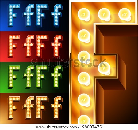 Ultimate realistic lamp board alphabet. Condensed style. Left and right options. Multicolored. Letter f - stock vector