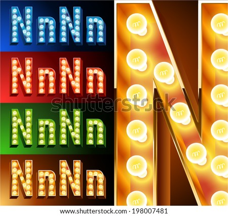 Ultimate realistic lamp board alphabet. Condensed style. Left and right options. Multicolored. Letter n - stock vector