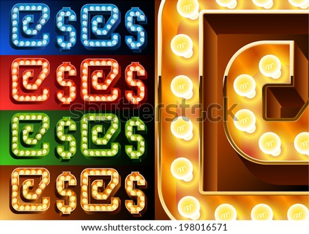 Ultimate realistic lamp board alphabet. Condensed style. Left and right options. Multicolored. Symbols 2 - stock vector