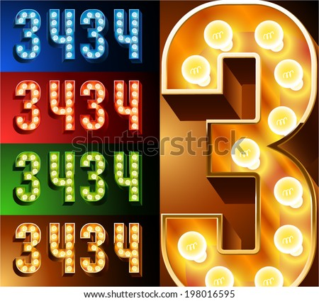 Ultimate realistic lamp board alphabet. Condensed style. Left and right options. Multicolored. Numbers 3- 4 - stock vector