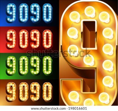 Ultimate realistic lamp board alphabet. Condensed style. Left and right options. Multicolored. Numbers 9 -0 - stock vector
