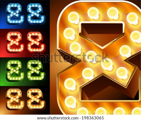 Ultimate realistic lamp board alphabet. Condensed style. Left and right options. Multicolored. Symbols 3 - stock vector