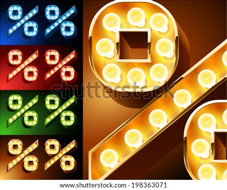 Ultimate realistic lamp board alphabet. Condensed style. Left and right options. Multicolored. Symbols 5 - stock vector