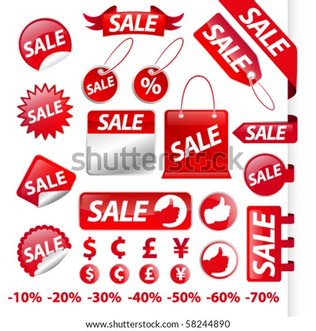 Ultimate sale labels - stock vector