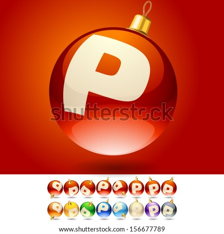 Ultimate set of alphabet font symbols on Christmas balls. Letter p - stock vector