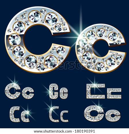 Ultimate vector alphabet of diamonds and platinum ingot. Six options. Letter c - stock vector