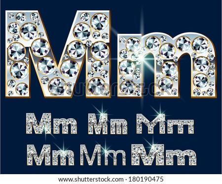Ultimate vector alphabet of diamonds and platinum ingot. Six options. Letter m - stock vector
