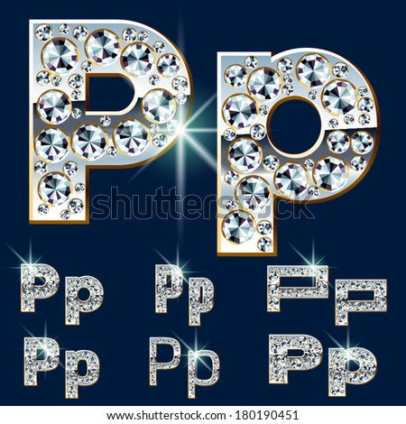 Ultimate vector alphabet of diamonds and platinum ingot. Six options. Letter p - stock vector