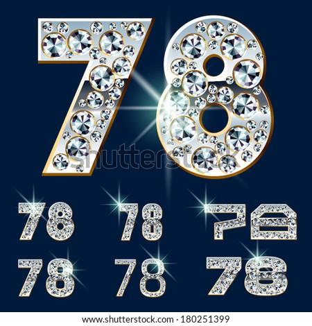 Ultimate vector alphabet of diamonds and platinum ingot. Six options. Numbers 7 8 - stock vector