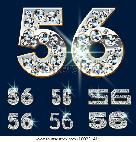 Ultimate vector alphabet of diamonds and platinum ingot. Six options. Numbers 5 6 - stock vector