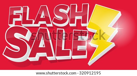 Ultra Dynamic 3D Flash Sale Sign with Bright Yellow Lightening Bolt. - stock vector