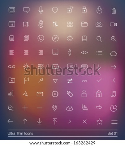 Ultra thin icons pack. Simple line icons. Thin Icons Set 01.  - stock vector