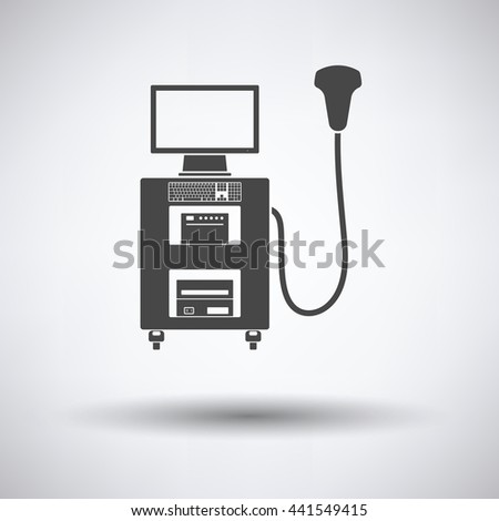 Ultrasound diagnostic machine icon on gray background, round shadow. Vector illustration. - stock vector