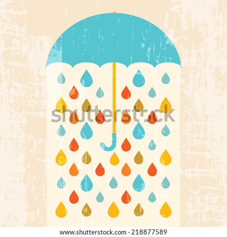 Umbrella and colorful raindrops retro background - stock vector
