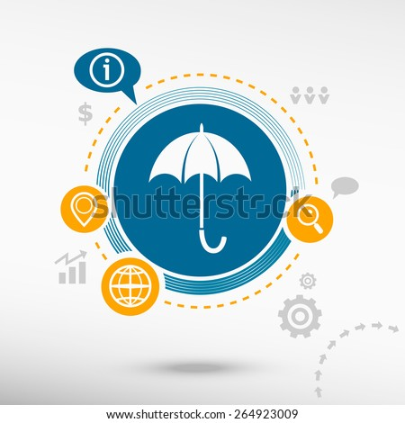 Umbrella and creative design elements. Flat design concept
