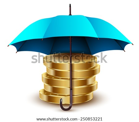 Umbrella and money. Business concept. Vector abstraction. Illustration. - stock vector