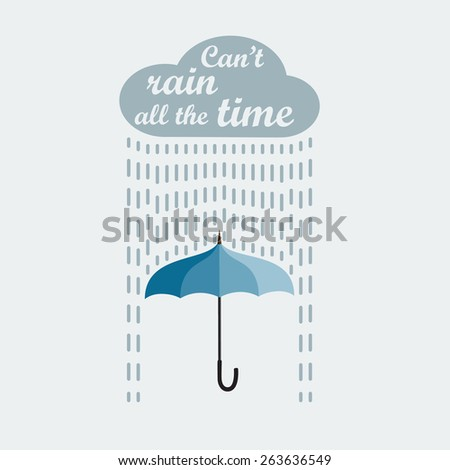 Umbrella and rain. Card template  - stock vector
